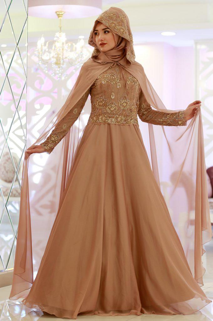 2018 Ganze Ozkul Tesettur Abiye Elbise Modelleri Ahra Somon 680x1024 - 2018 Gamze Özkul Abiye Elbise Modelleri
