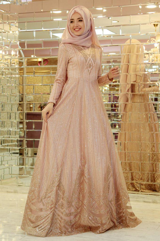 2018 Ganze Ozkul Tesettur Abiye Elbise Modelleri Beren Pudra 680x1024 - 2018 Gamze Özkul Abiye Elbise Modelleri