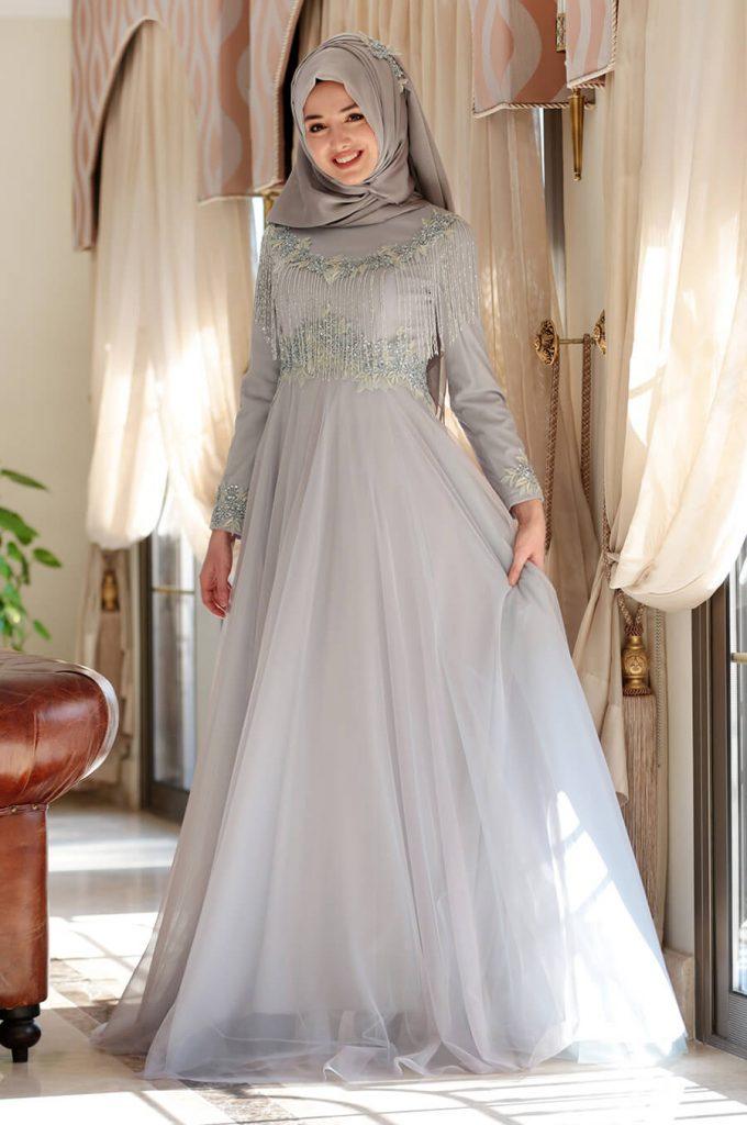 2018 Ganze Ozkul Tesettur Abiye Elbise Modelleri Elsa Mavi 680x1024 - 2018 Gamze Özkul Abiye Elbise Modelleri