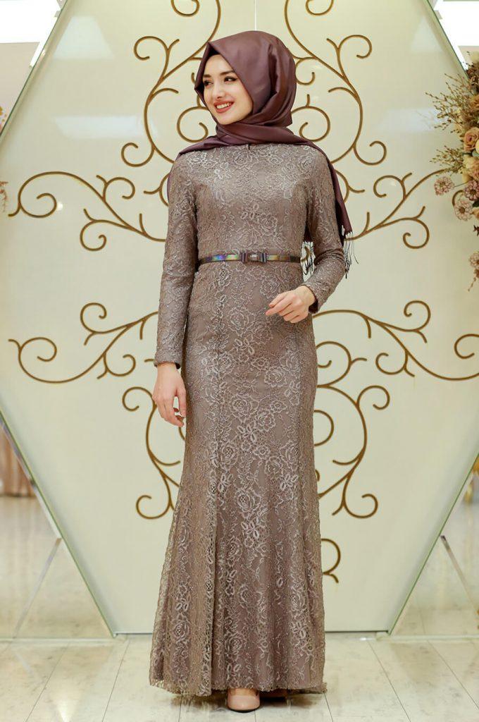 2018 Ganze Ozkul Tesettur Abiye Elbise Modelleri Fulya Vizon 680x1024 - 2018 Gamze Özkul Abiye Elbise Modelleri