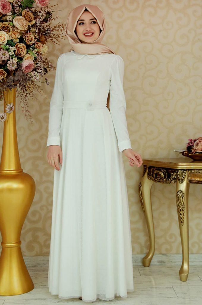 2018 Ganze Ozkul Tesettur Abiye Elbise Modelleri Masal Ekru 680x1024 - 2018 Gamze Özkul Abiye Elbise Modelleri