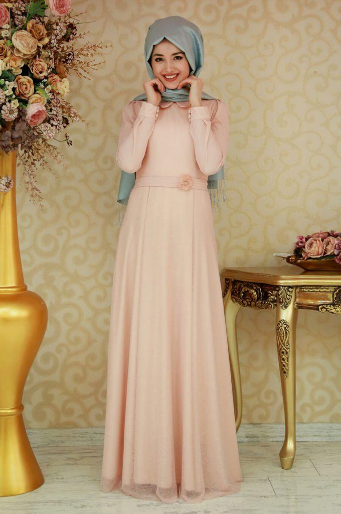 2018 Ganze Ozkul Tesettur Abiye Elbise Modelleri Masal Somon 680x1024 - 2018 Gamze Özkul Abiye Elbise Modelleri