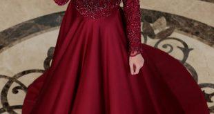 2018 Ganze Ozkul Tesettur Abiye Elbise Modelleri Mira Bordo e1521933905674