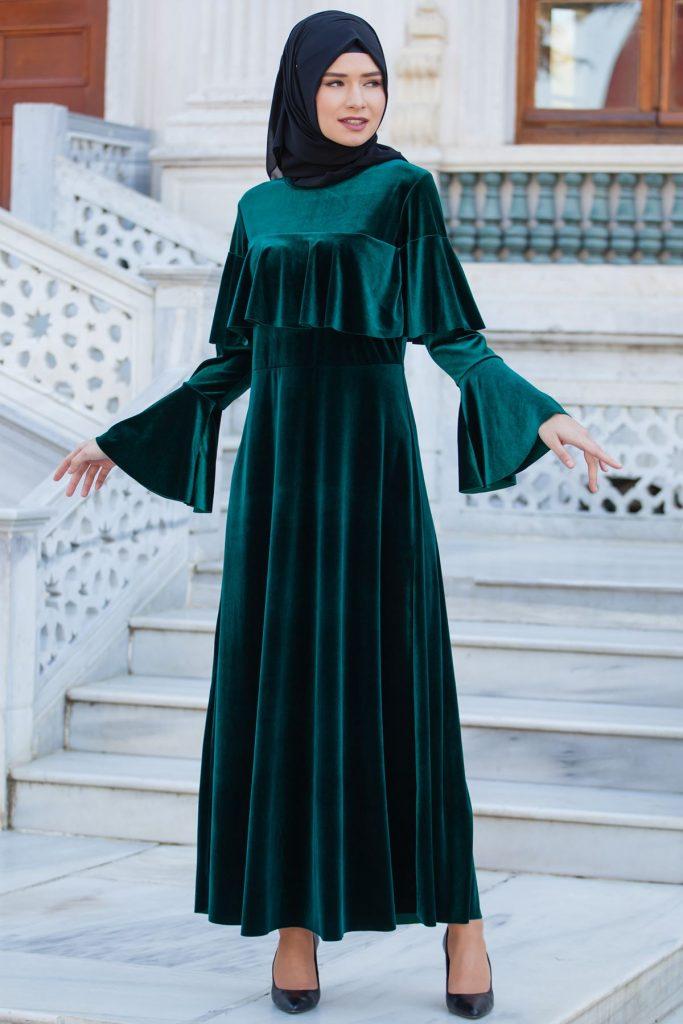 2018 Tesettur Kadife Abiye Elbise Modelleri  683x1024 - 2018 En Güzel Tesettür Abiye Elbiseleri