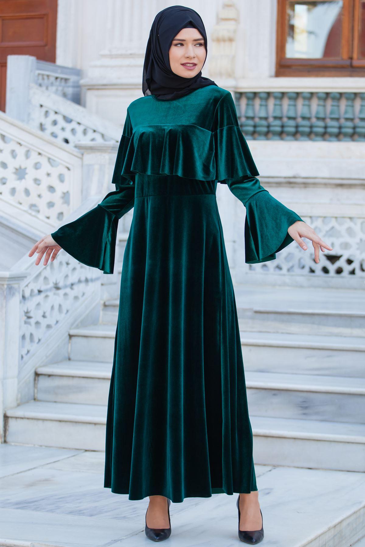 2018 Tesettur Kadife Abiye Elbise Modelleri