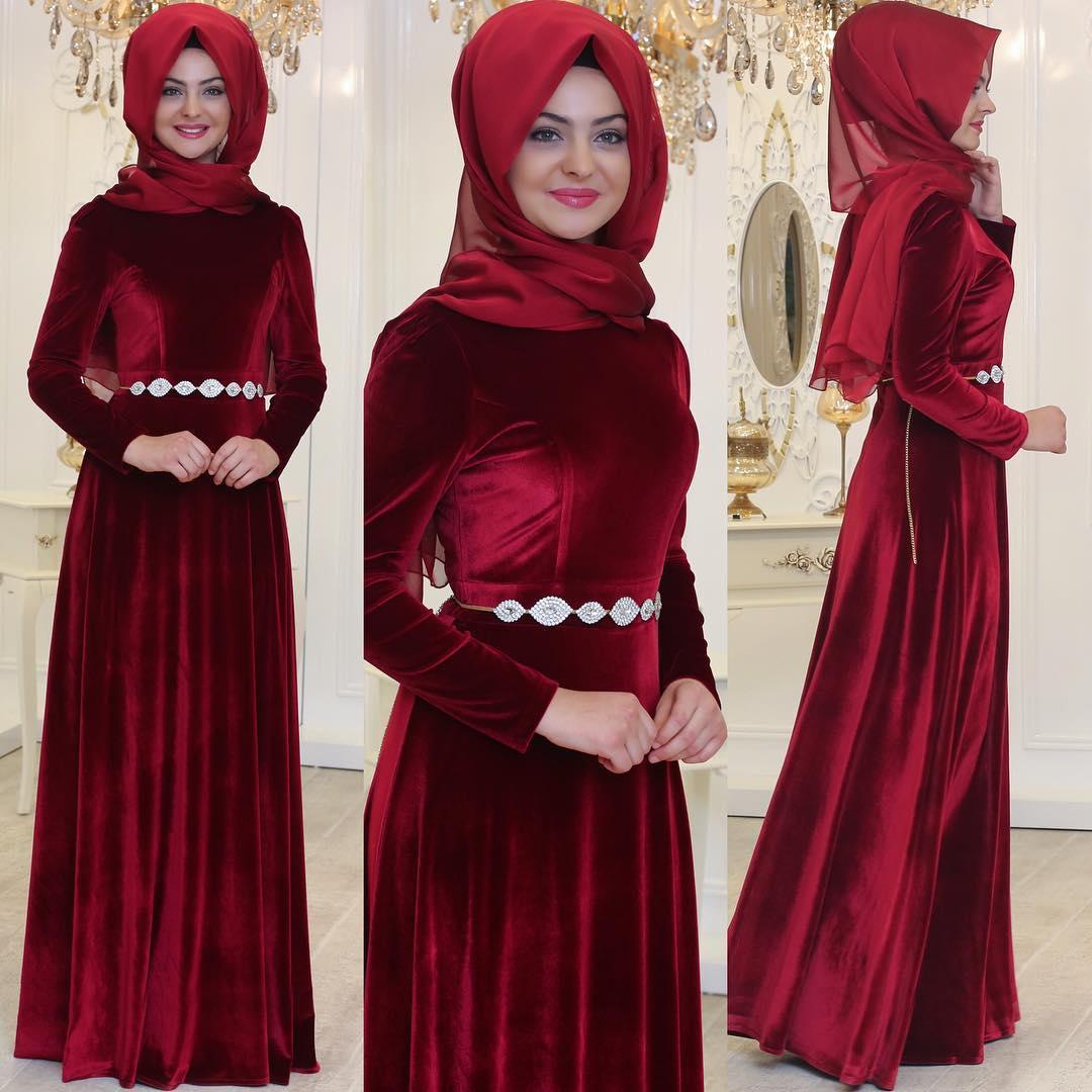 2018 Tesettur Kadife Abiye Elbise Modelleri 1
