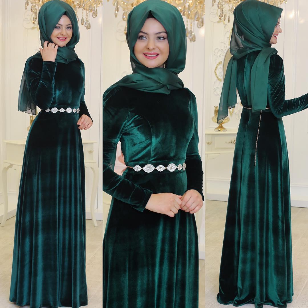 2018 Tesettur Kadife Abiye Elbise Modelleri 3