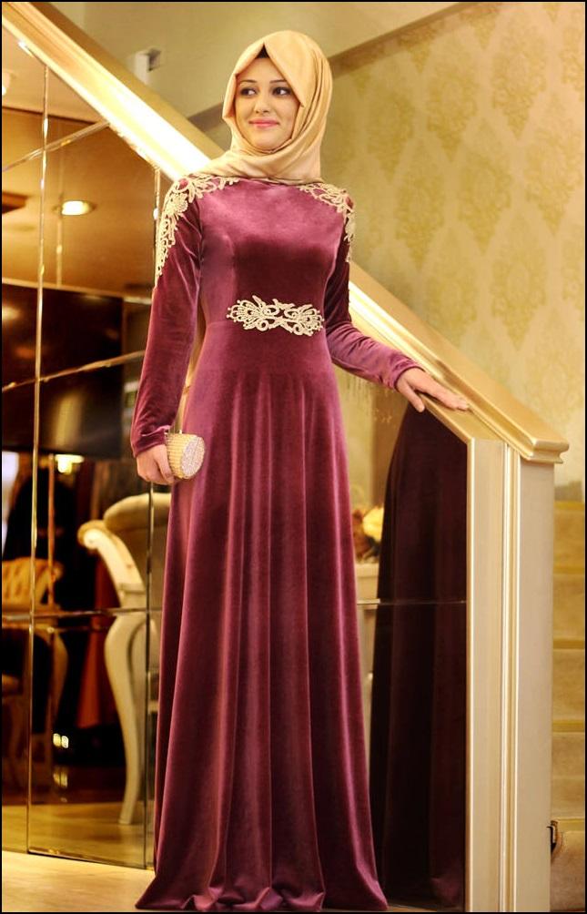 2018 Tesettur Kadife Abiye Elbise Modelleri 6