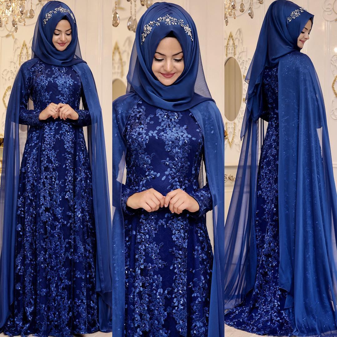 2018 Tesettur Pelerinli Abiye Elbise Modelleri 2 - En Şık Pınar Şems Tesettür Abiye Elbise Modelleri