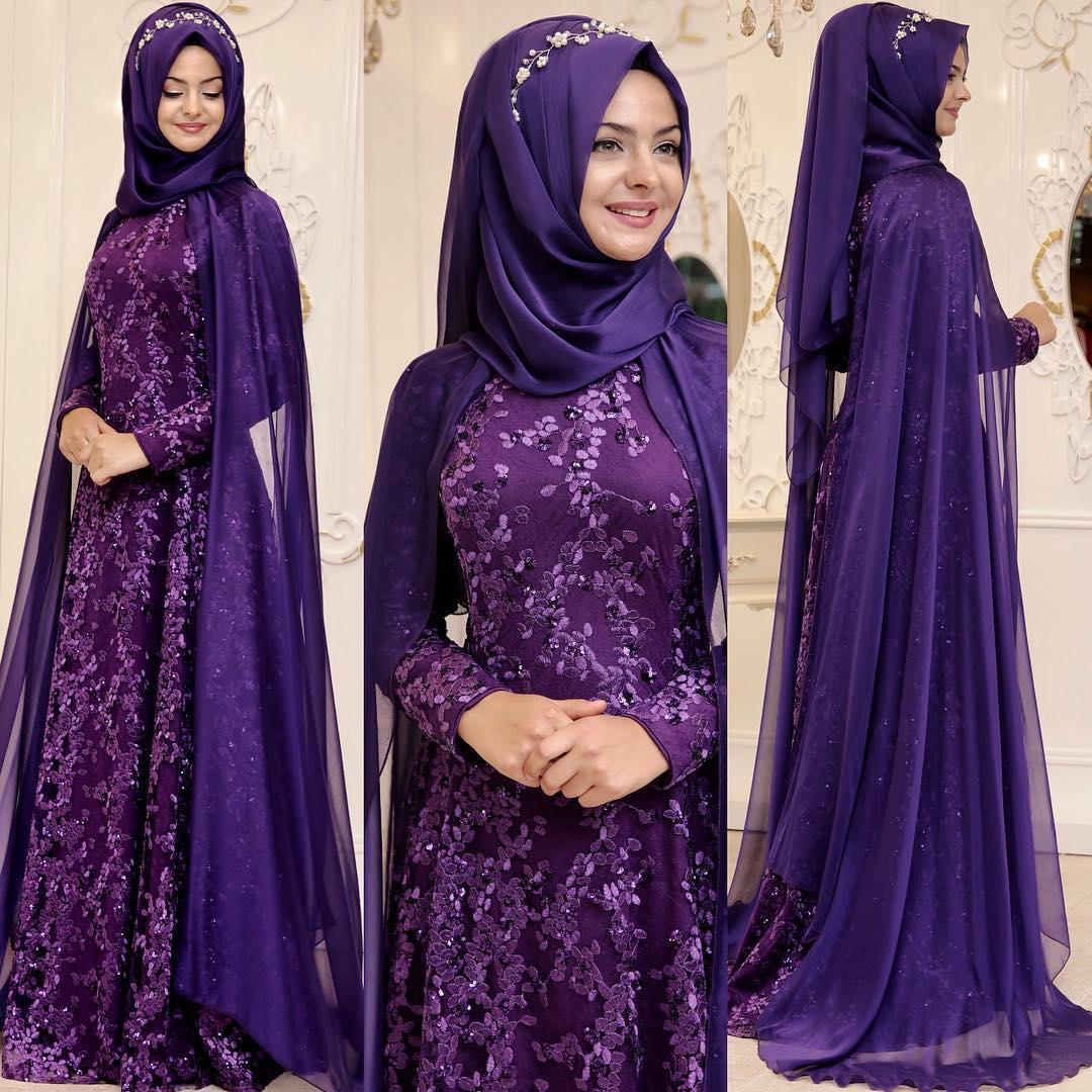 2018 Tesettur Pelerinli Abiye Elbise Modelleri 3 - En Şık Pınar Şems Tesettür Abiye Elbise Modelleri