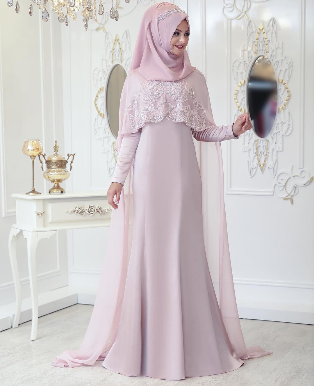 2018 Tesettur Pelerinli Abiye Elbise Modelleri 4 - En Şık Pınar Şems Tesettür Abiye Elbise Modelleri