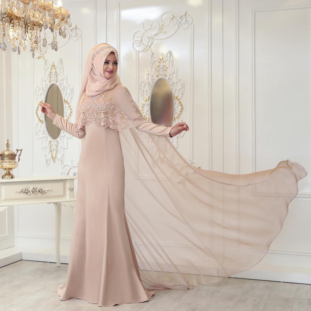 2018 Tesettur Pelerinli Abiye Elbise Modelleri - 2018 Sedanur Tesettür Abiye Elbise Modelleri