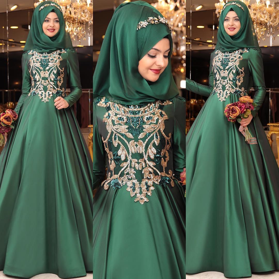 2018 Zumrut Nisanlik Modelleri - 2018 Tesettür Zümrüt Yeşili Abiye Elbise ve Nişanlık Modelleri