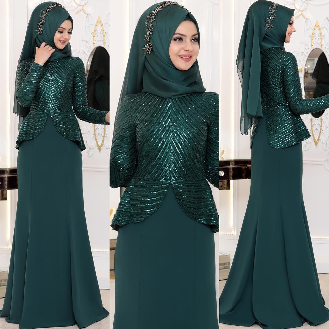 2018 Zumrut Tesettur Nisanlik Modelleri  - 2018 Tesettür Zümrüt Yeşili Abiye Elbise ve Nişanlık Modelleri