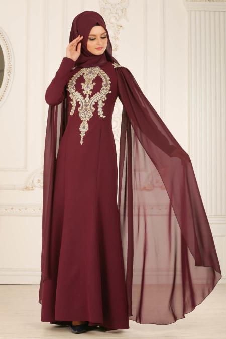 Buyuk Beden Tesettur Abiye-dantel-detayli-murdum-tesettur-abiye-elbise