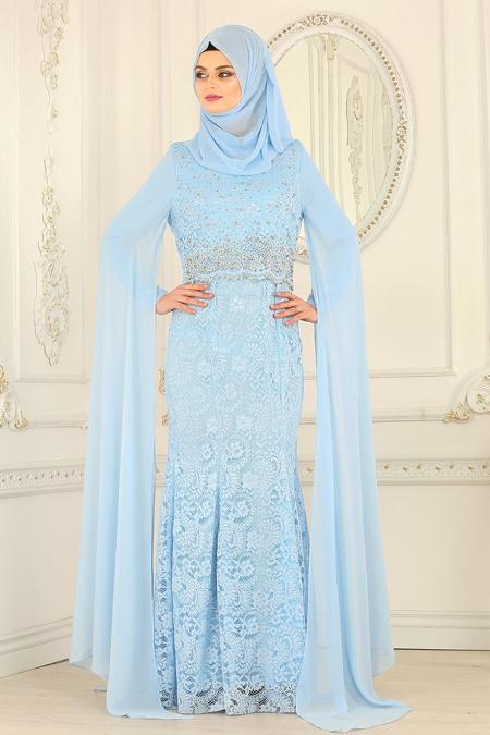 Buyuk Beden Tesettur Abiye dantelli bebek mavisi tesettur abiye elbise