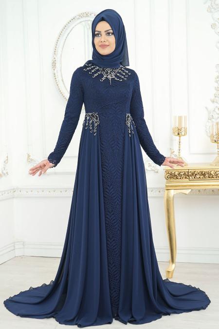 Buyuk Beden Tesettur Abiye--elbise-boncuk-detayli-lacivert-tesettur-abiye-elbise