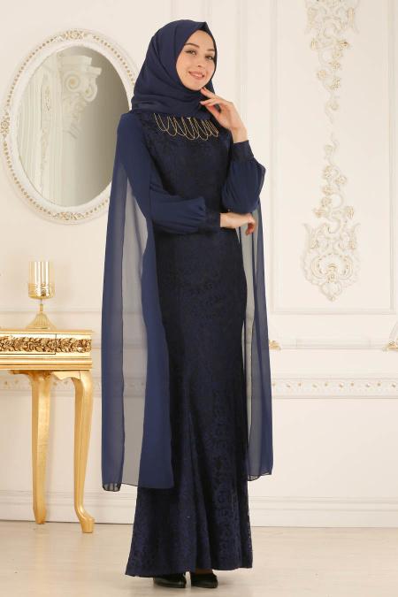 Buyuk Beden Tesettur Abiye elbise dantelli lacivert tesettur abiye elbise