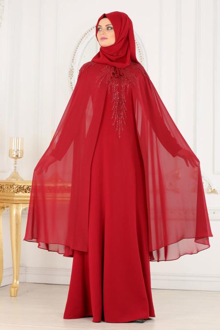 Buyuk Beden Tesettur Abiye-elbise-pelerinli-bordo-tesettur-abiye-elbise