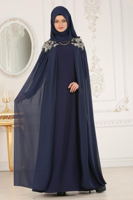Buyuk Beden Tesettur Abiye elbise pelerinli lacivert tesettur abiye elbise
