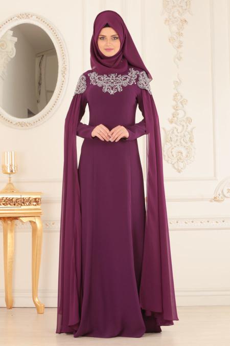 Buyuk Beden Tesettur Abiye elbise tas detayli murdum tesettur abiye elbise