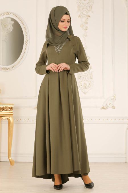 Buyuk Beden Tesettur Abiye kolye detayli haki tesettur abiye elbise