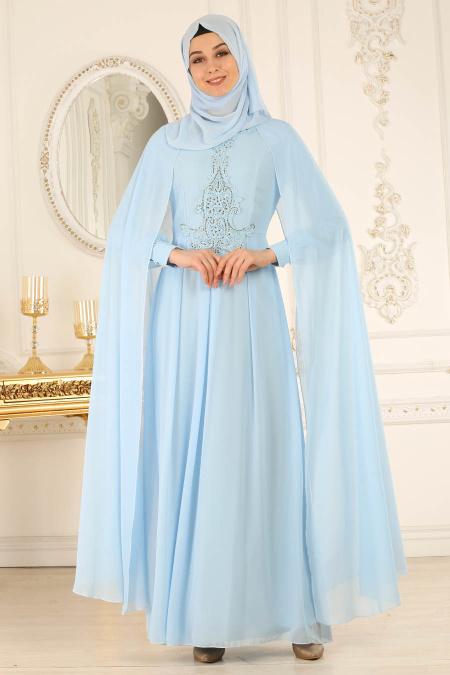 Buyuk Beden Tesettur Abiye-tasli-bebek-mavisi-tesettur-abiye-elbise-