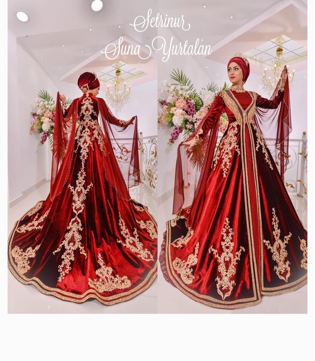 Kaftan Modelleri - 2018 Bindallı Kına Elbisesi Modelleri