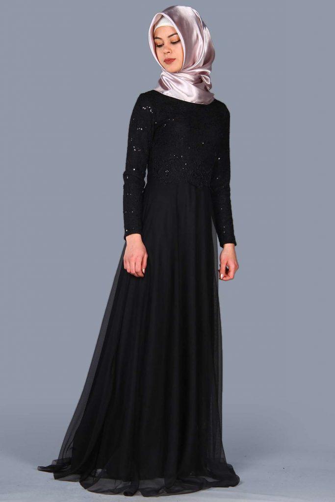 Patirti.com 1 Tl Urunler Pullu Siyah 683x1024 - En Şık Patirti.com Tesettür Abiye Elbise Modelleri