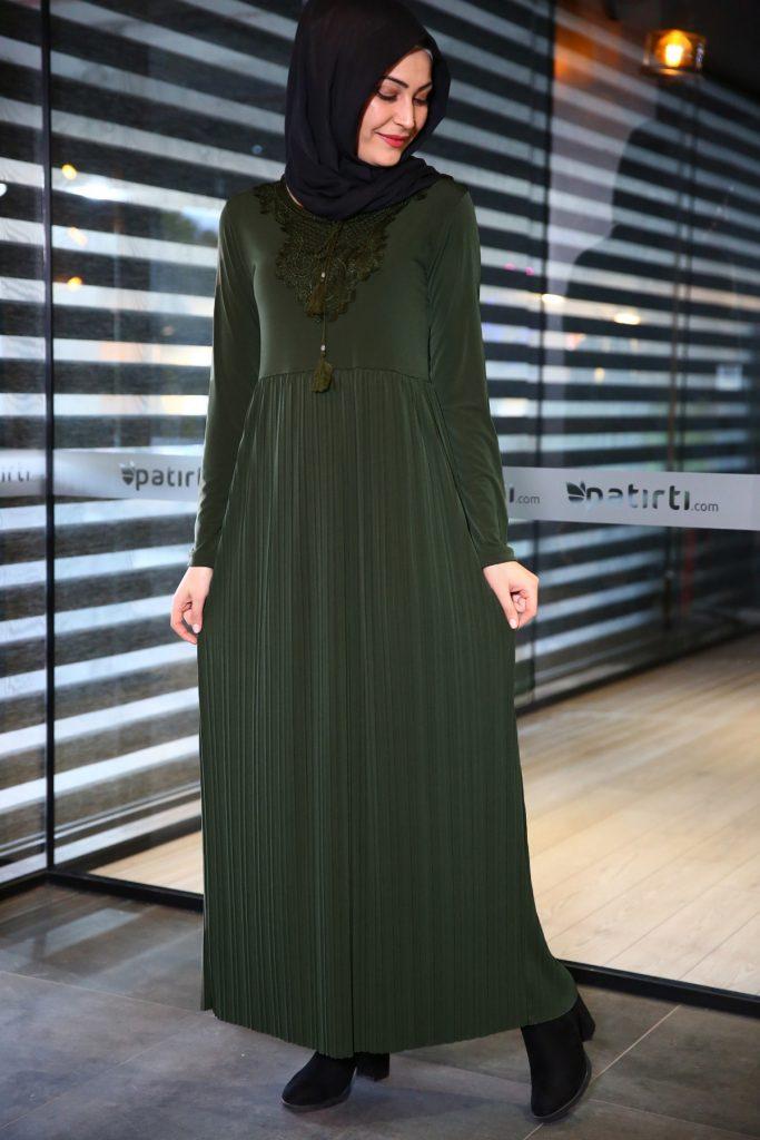 Patirti.com 1 Tl Urunleri Bagcikli Haki 683x1024 - En Şık Patirti.com Tesettür Abiye Elbise Modelleri