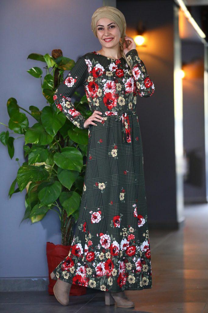 Patirti.com 1 Tl Urunleri Bel Baglama Desenli 683x1024 - En Şık Patirti.com Tesettür Abiye Elbise Modelleri