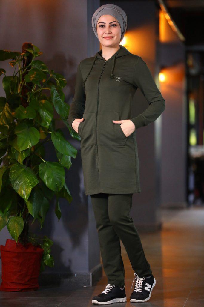 Patirti.com Kampanyali Urunler  cep detay haki esofman takimi 683x1024 - En Şık Patirti.com Tesettür Abiye Elbise Modelleri
