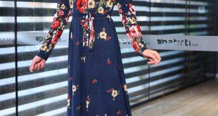 Patirti.com Kampanyali Urunler bel baglama desenli elbise