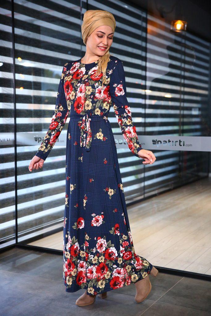 Patirti.com Kampanyali Urunler bel baglama desenli elbise 683x1024 - En Şık Patirti.com Tesettür Abiye Elbise Modelleri