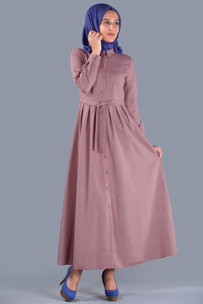 Patirti.com Kampanyali Urunler bel baglama pudra elbise 683x1024 - En Şık Patirti.com Tesettür Abiye Elbise Modelleri