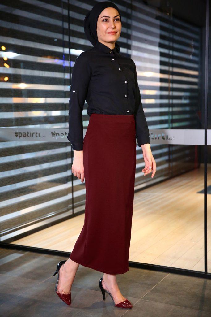 Patirti.com Kampanyali Urunler bel likrali bordo etek 683x1024 - En Şık Patirti.com Tesettür Abiye Elbise Modelleri