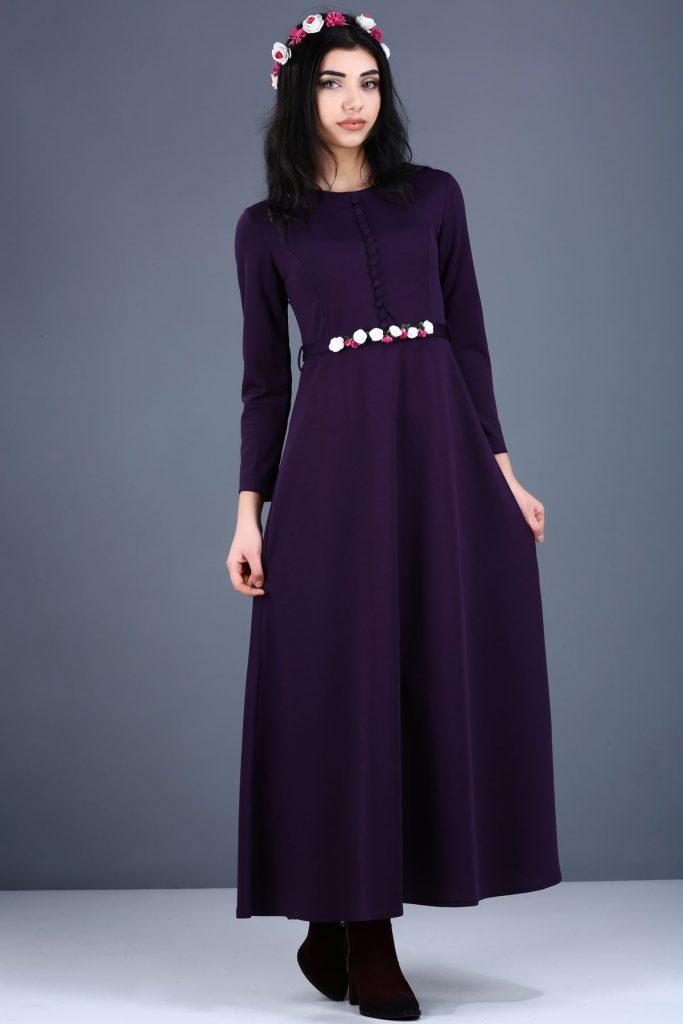 Patirti.com Kampanyali Urunler sirt fermuar koyu mor elbise 683x1024 - En Şık Patirti.com Tesettür Abiye Elbise Modelleri
