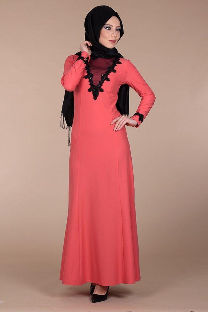 Patirti.com Tesettur Abiye dantelli abiye elbise narcicegi