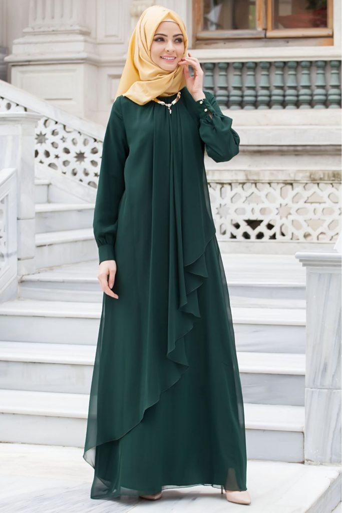 Patirti.com Tesettur Abiye elbise zumrut