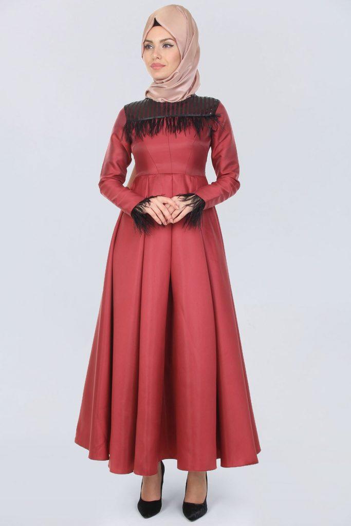 Patirti.com Tesettur Abiye fermuar detay ust pul islemeli bordo elbise
