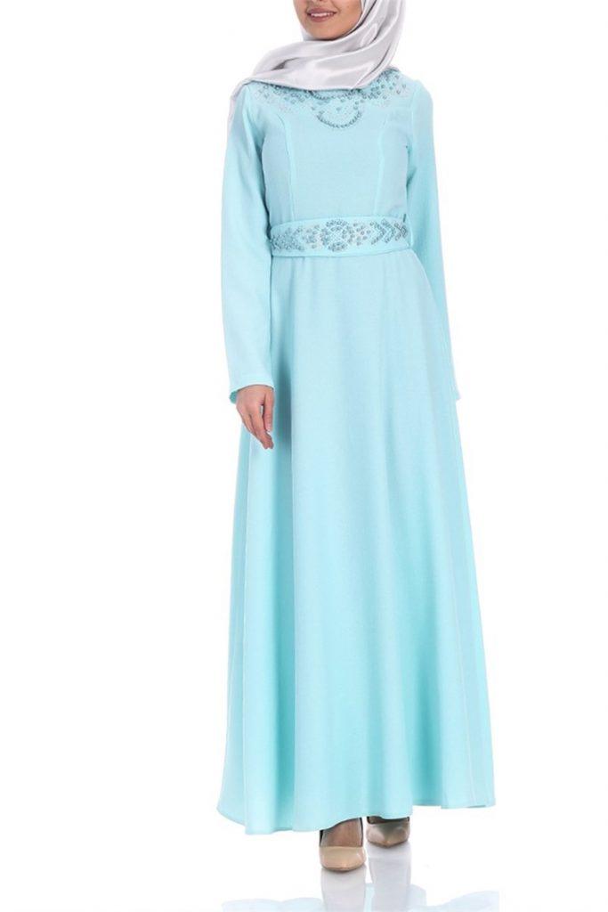 Patirti.com Tesettur Abiye islemeli abiye buz mavi 683x1024 - En Şık Patirti.com Tesettür Abiye Elbise Modelleri