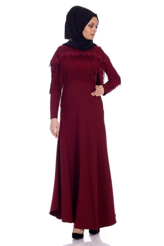 Patirti.com Tesettur Abiye puskullu abiye bordo 683x1024 - En Şık Patirti.com Tesettür Abiye Elbise Modelleri