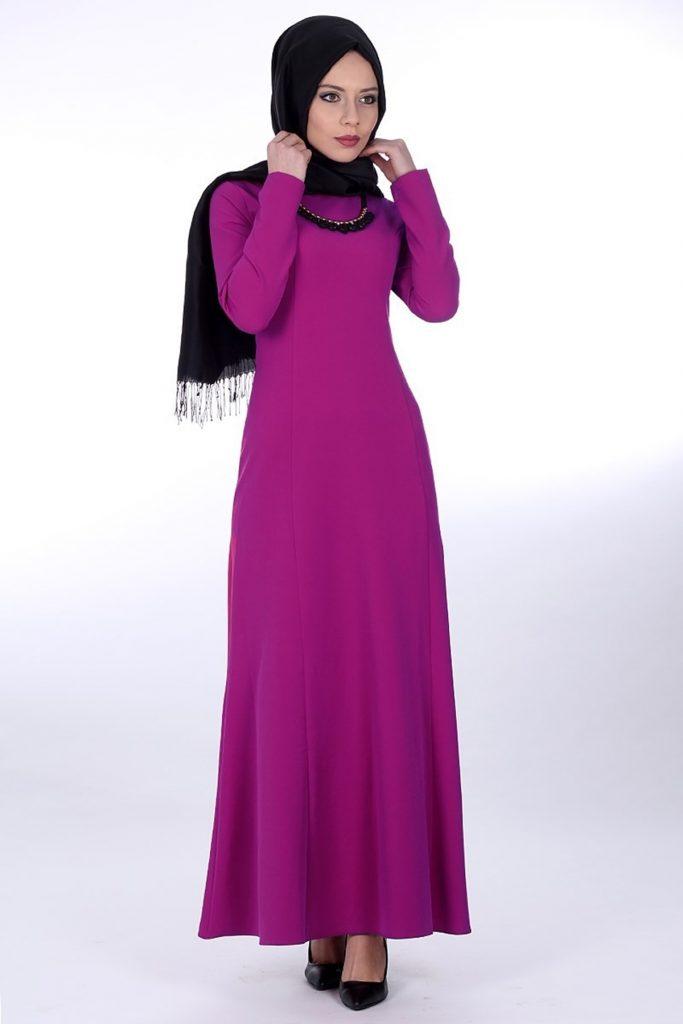 Patirti.com Tesettur Abiye tesettur abiye elbise fusya 683x1024 - En Şık Patirti.com Tesettür Abiye Elbise Modelleri