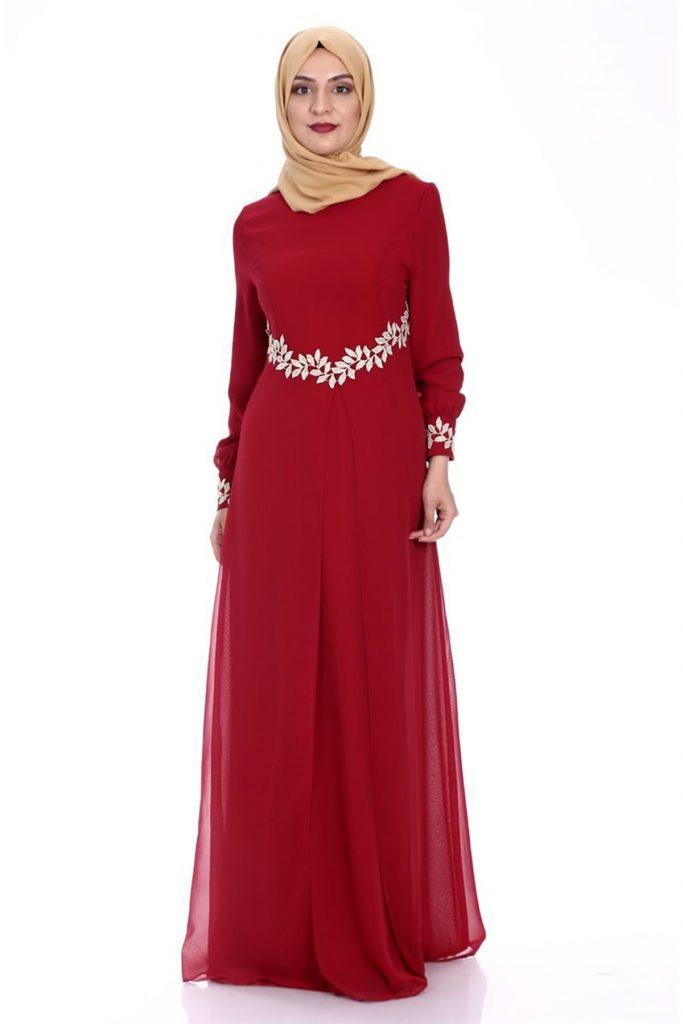 Patirti.com Tesettur Abiye gupur detayli abiye bordo 683x1024 - En Şık Patirti.com Tesettür Abiye Elbise Modelleri