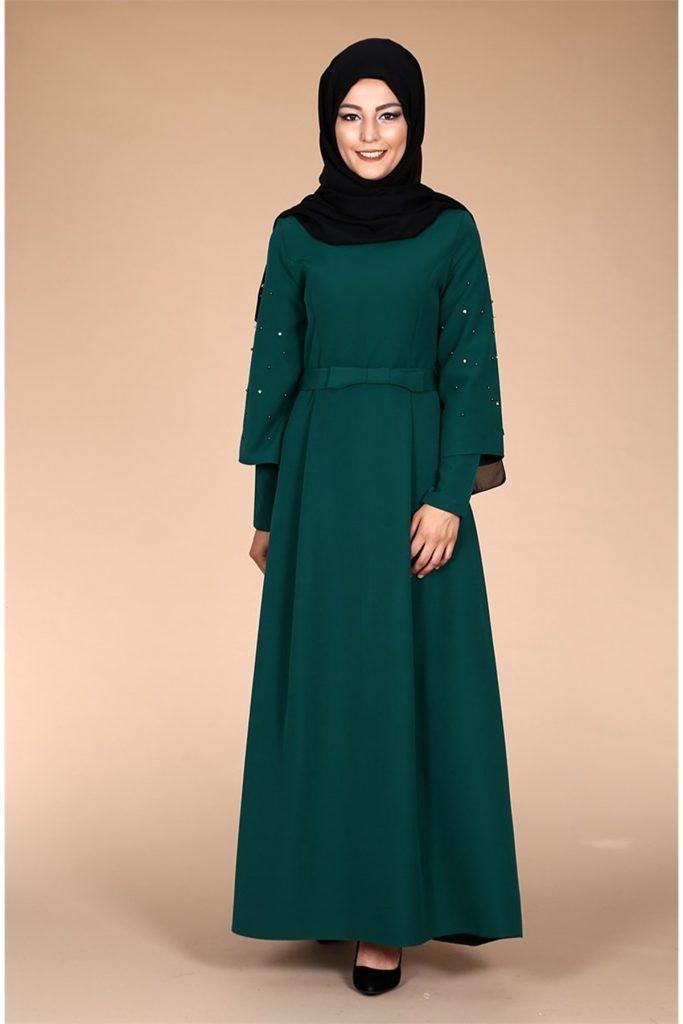 Patirti.com Tesettur Abiye kollari tasli abiye elbise yesil
