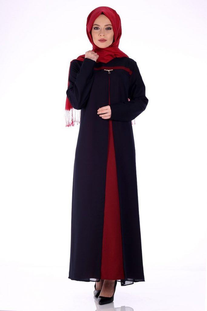 Patirti.com Tesettur Abiye sifon detayli abiye elbise bordo 683x1024 - En Şık Patirti.com Tesettür Abiye Elbise Modelleri