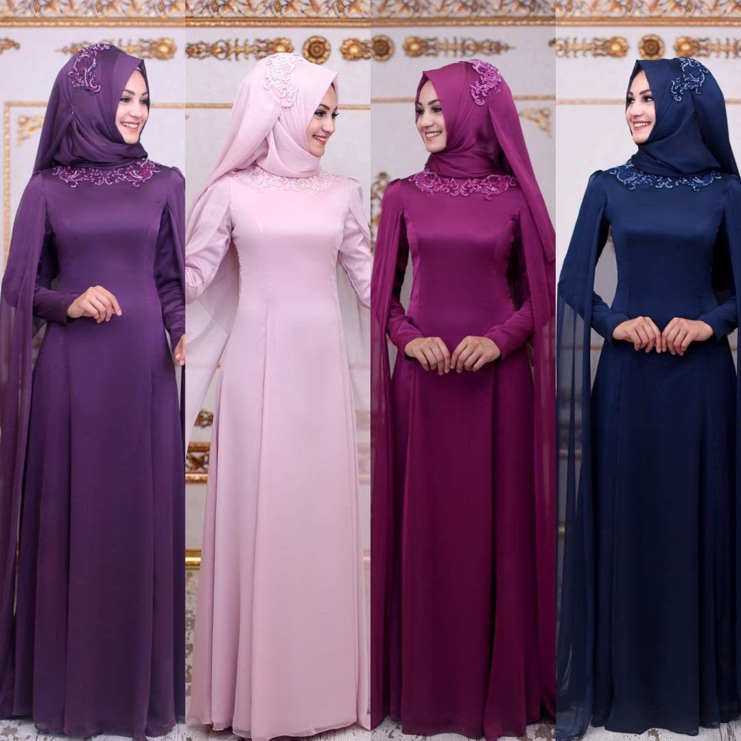 Sade Abiye Elbiseler - 2018 En Şık Tesettürlü Abiye Elbise Modelleri