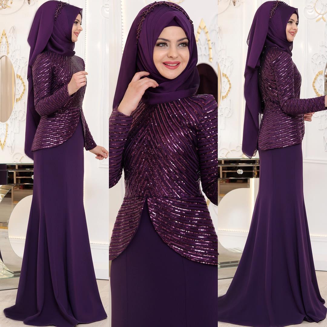 Sade Abiyeler - En Şık Pınar Şems Tesettür Abiye Elbise Modelleri