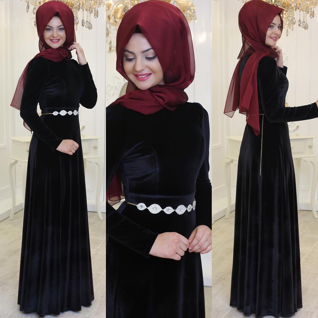Siyah Tesettur Abiye Elbise Modelleri 1 - 2018 Sedanur Tesettür Abiye Elbise Modelleri