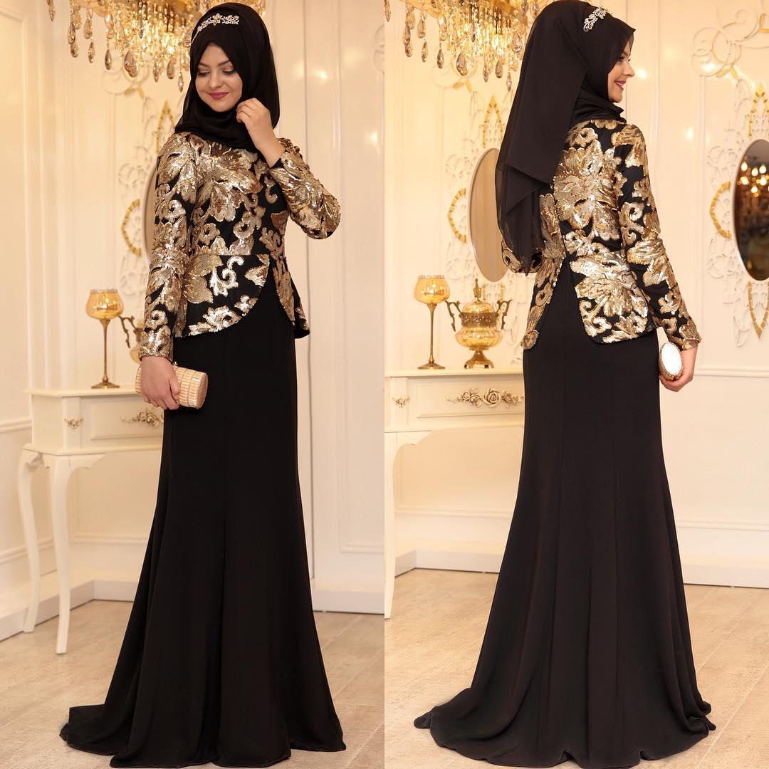 Siyah Tesettur Abiye Elbise Modelleri 2 - En Şık Pınar Şems Tesettür Abiye Elbise Modelleri